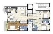 Floor Plan - 3 BHK Simplex Unit - 1920 sq.ft.