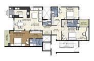 Floor Plan - 3 BHK Bridge Unit - 2015 sq.ft.