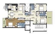 Floor Plan - 3 BHK Bridge Unit - 1850 sq.ft.