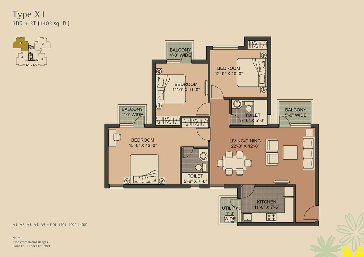 Buy 2 Bhk Flat In Gurgaon For Less Than Rs 1 Crore Unitech Crestview Electrical Wiring Diagram 3 Bedroom Floor Plan 3br 2t 1402 Sqft