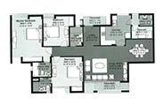 Floor Plan-3 BR+Servant Room-1910 sq.ft.
