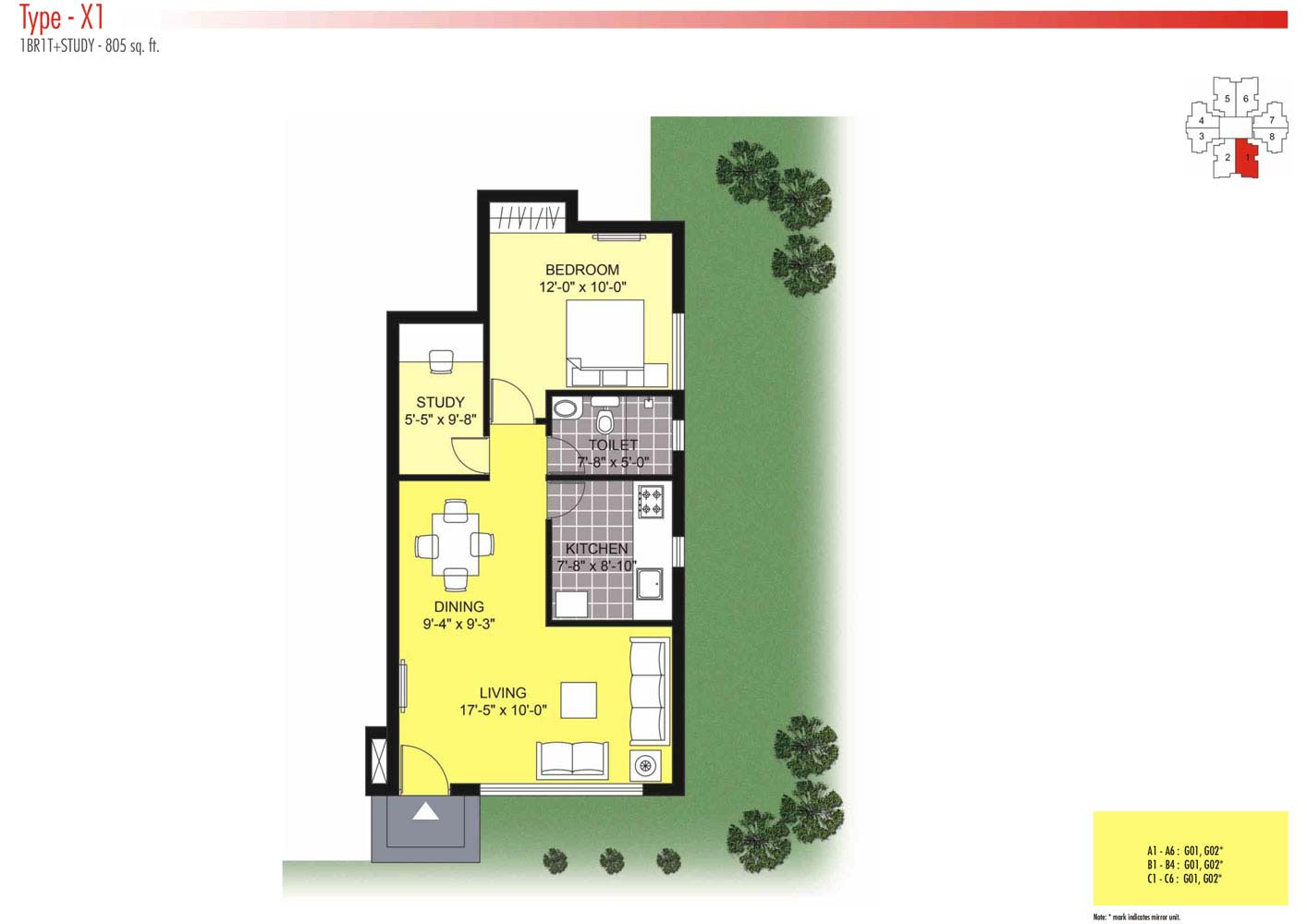 Floor Plans-1BR1T-805 sq.ft.