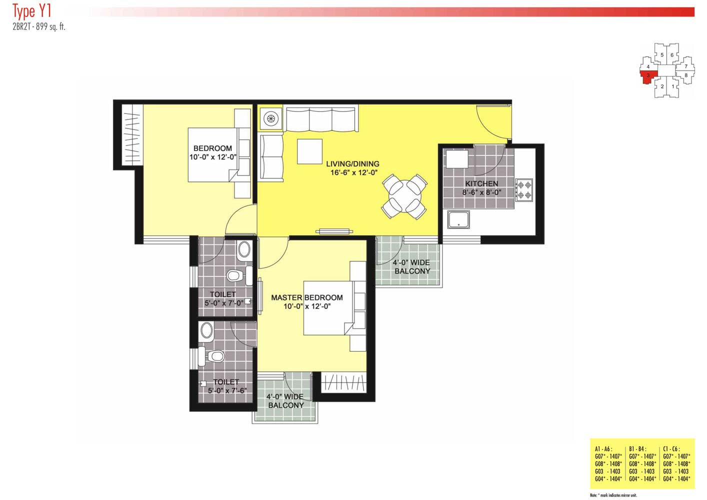 Floor Plans-2BR2T-899 sq.ft.