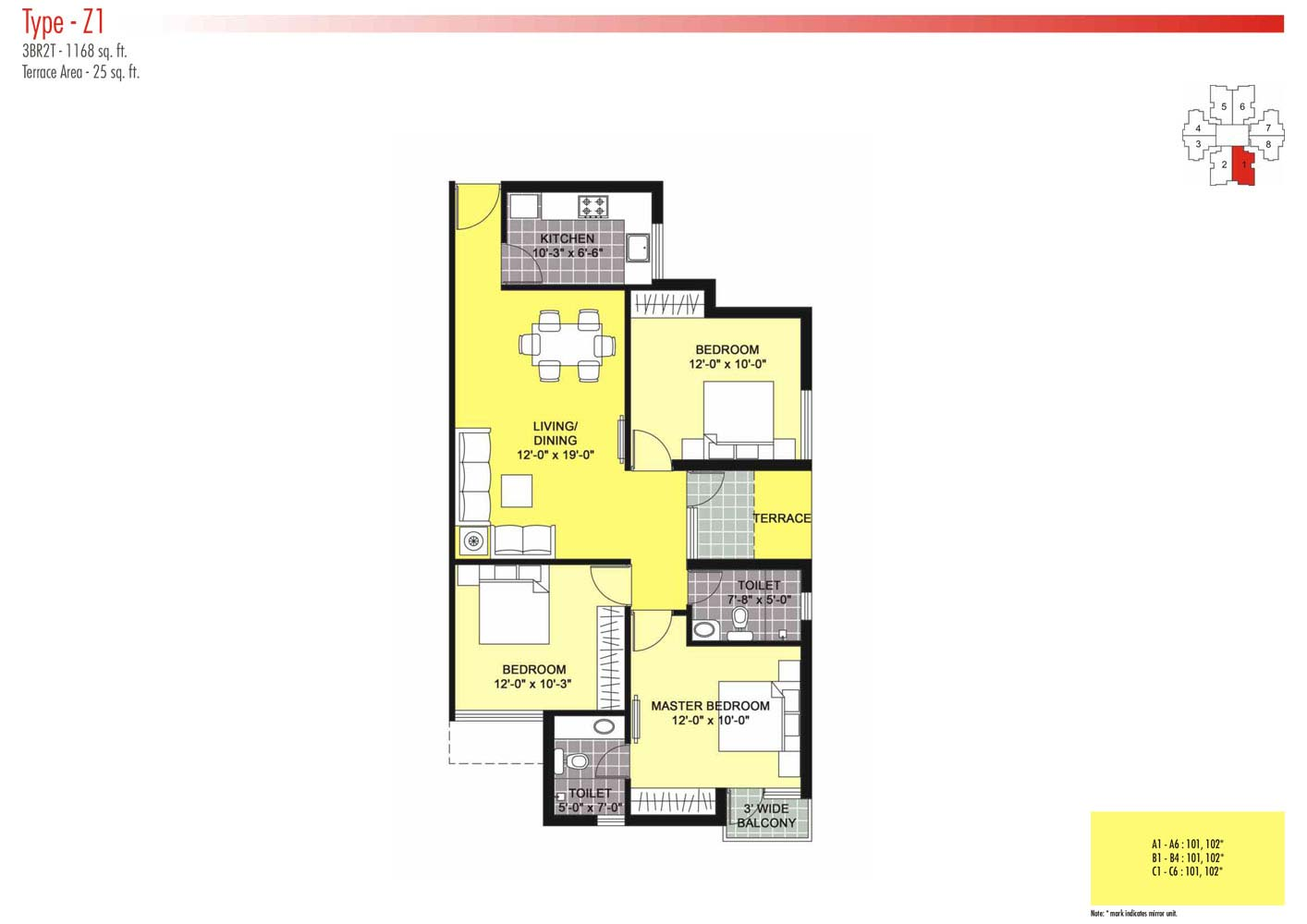 Floor Plans-3BR2T-1168 sq.ft.