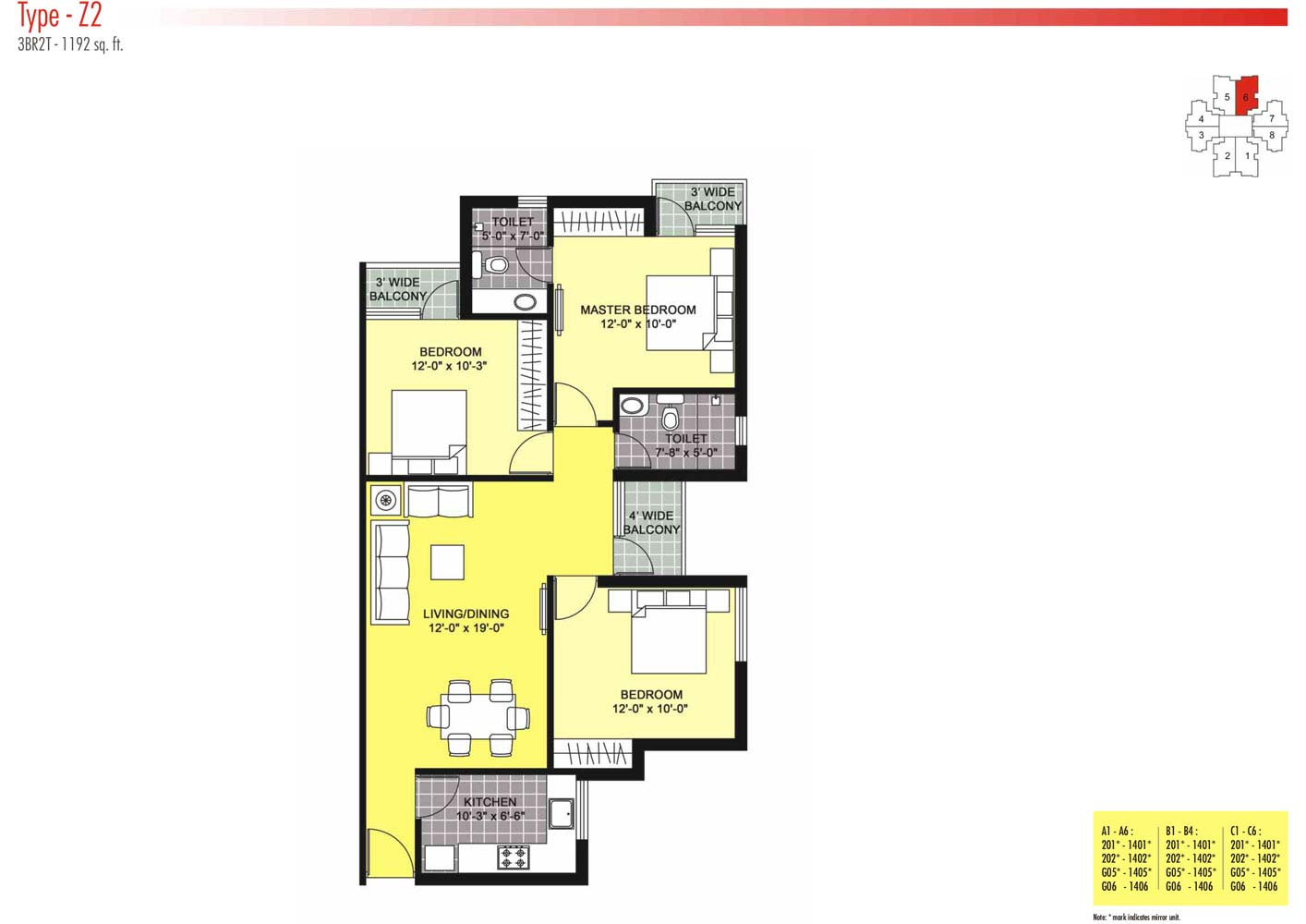 Floor Plans-3BR2T-1192 sq.ft.