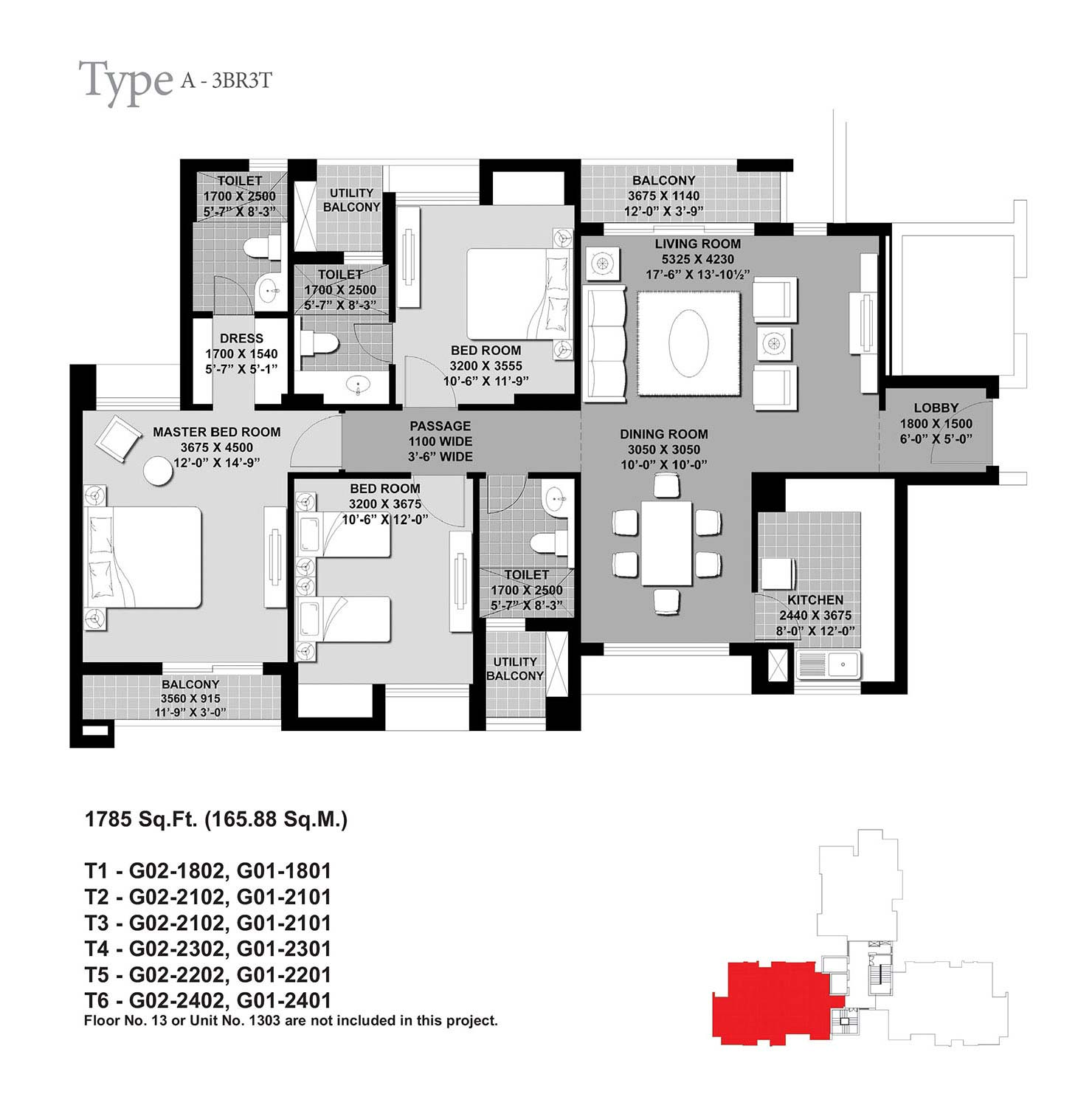 Floor Plan-3BR3T-1785 Sq.Ft.