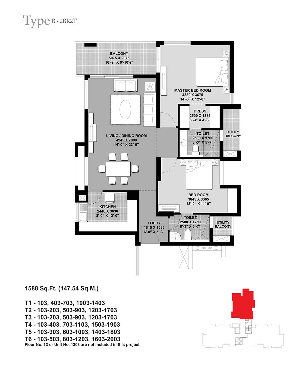 Floor Plan-2BR2T-1588 Sq.Ft.