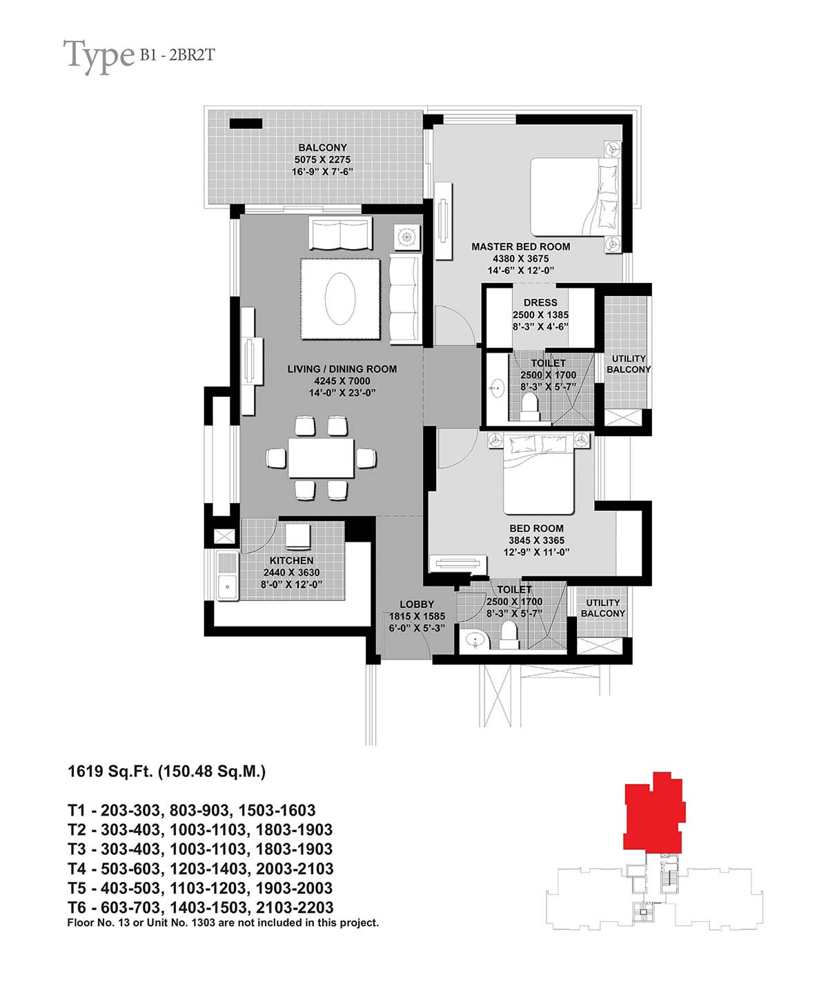 Floor Plan-2BR2T-1619 Sq.Ft.