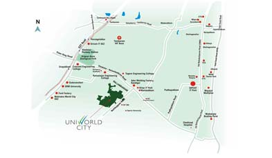 Unitech Gardens Location Map