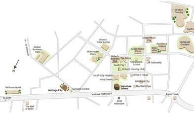 Unitech Heritage City Location Map