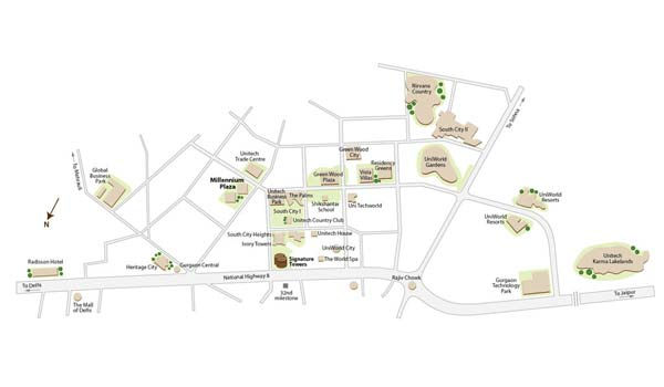 Unitech Millennium Plaza Location Map