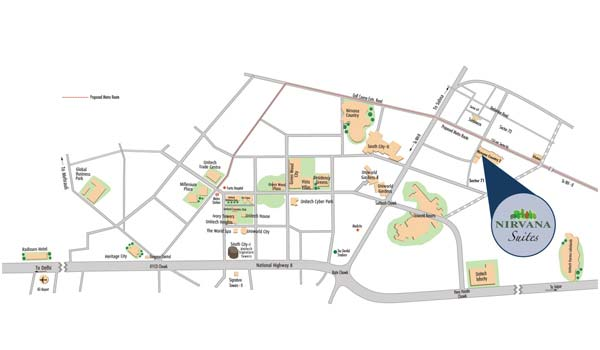 Unitech Nirvana Suites Location Map