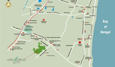 Unitech Palm Villas Location Map