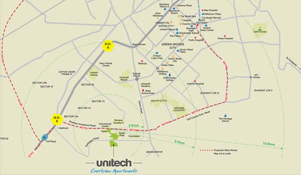 Unitech Crestview Apartments Loaction Map