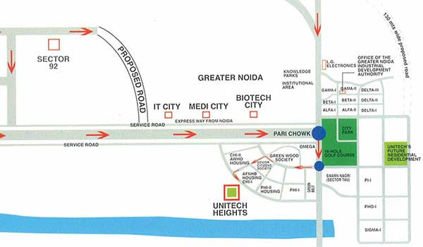 Unitech Heights Location Map