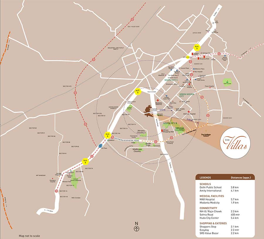 Unitech The Villas Location Map