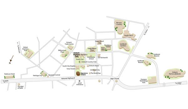 Unitech Business Park Location Map