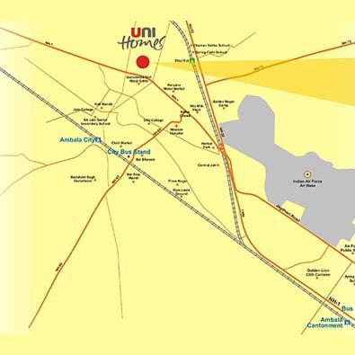 Unitech Unihomes Location Map