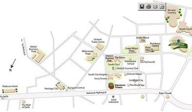 Unitech Uniworld Gardens Location Map