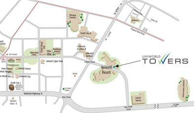 Unitech Uniworld Towers Location Map